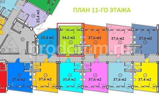 Планировка квартиры 34,2 кв Крымский апартотель