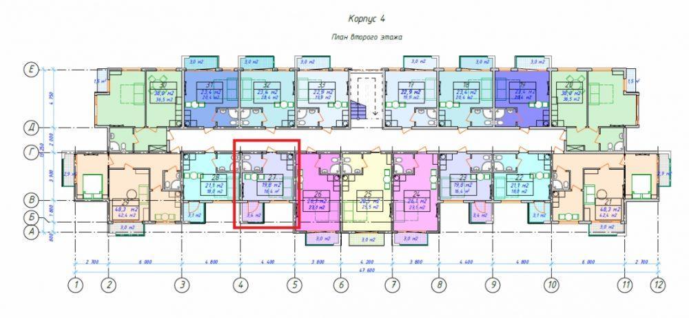 ЖК Мадрид парк 2 - Корпус 4 План 2-го этажа