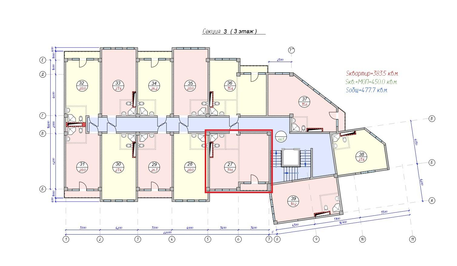 Купить квартиру в Сочи ЖК Сочи Лайф Парк План 3 этажа 3-ей секции