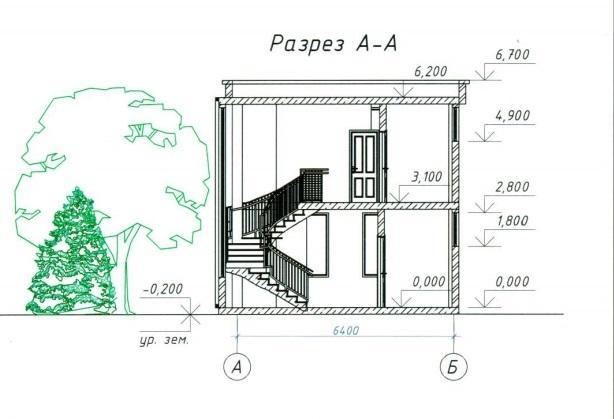 КП Цветочный План дома в разрезе