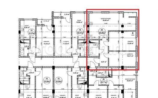 ЖК Гармония 2 Сочи план квартиры 68,9 кв м