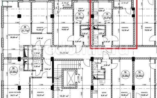 ЖК Гармония 2 Сочи план квартиры 33,27 кв м