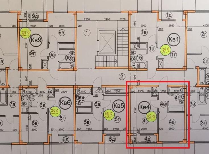 ЖК Гармония-3 Сочи план квартиры 32,9 кв. метра