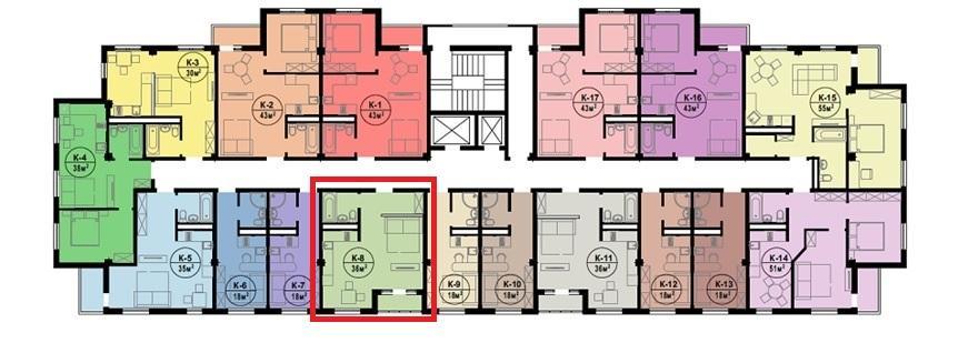 План типового этажа ЖК Каньон 2 Сочи