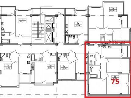ЖК Посейдон Сочи план квартиры 75 м