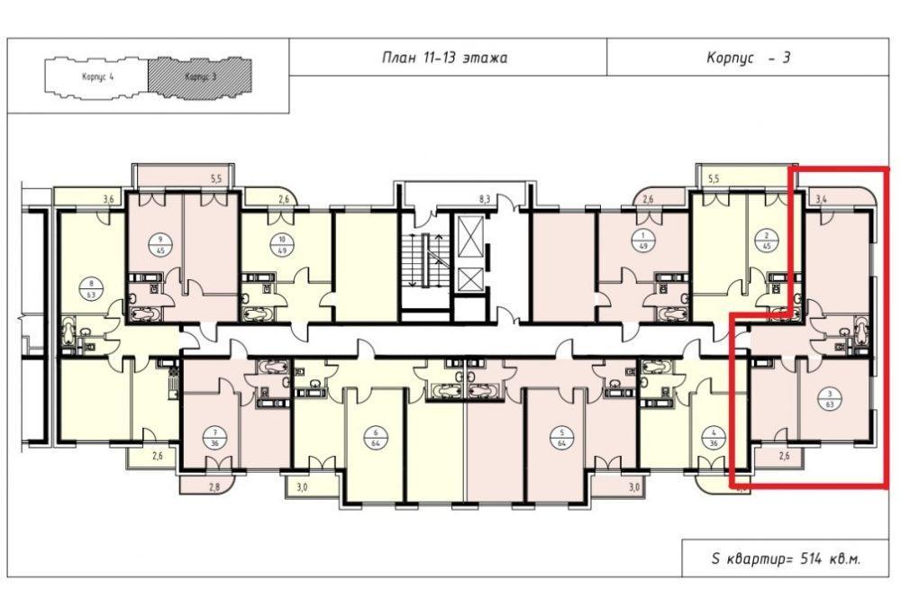 ЖК Альпийский квартал План 13-го этажа