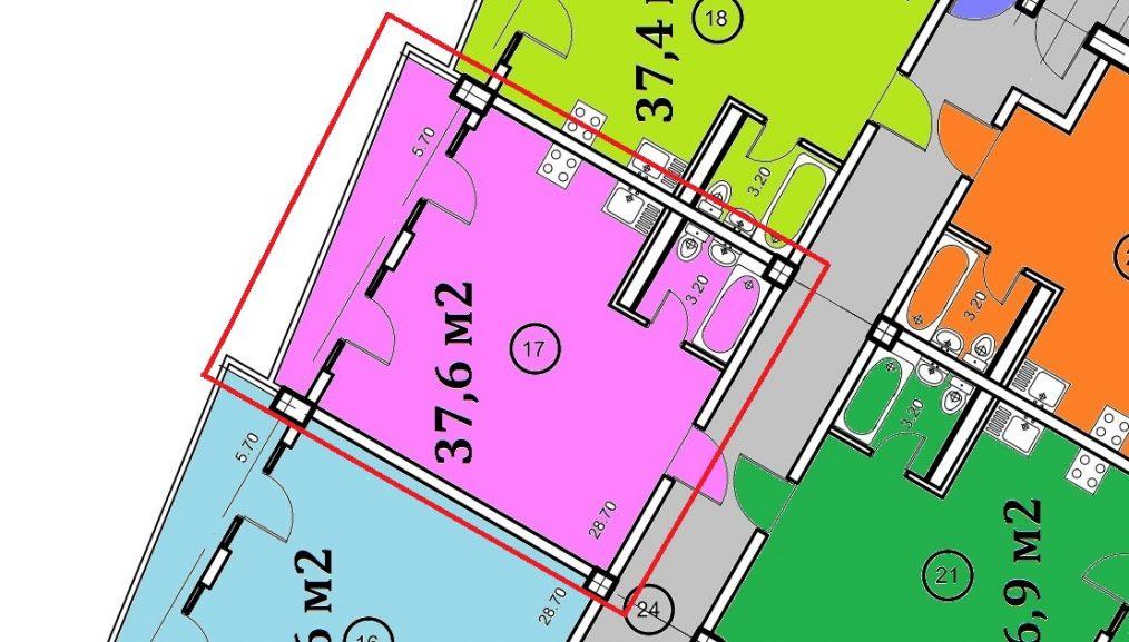 Планировка квартиры 37,6 кв м ЖК Крымский