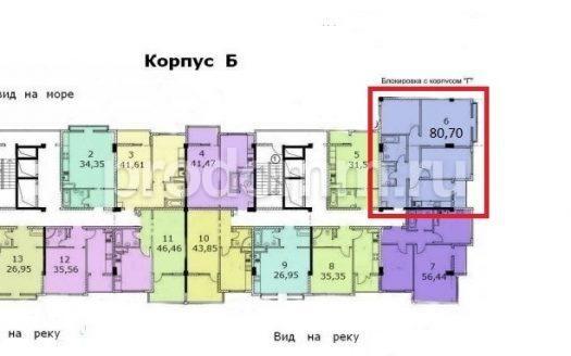 ЖК Посейдон Сочи планировка квартиры 80,7 кв м корпус Б