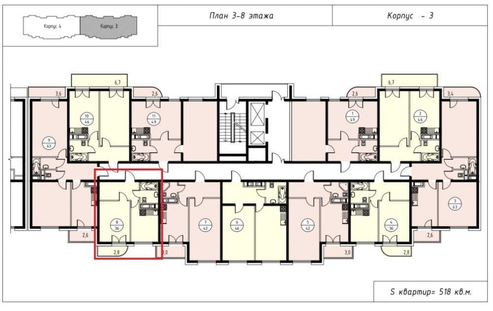 ЖК Альпийский квартал Сочи План 3-го этажа