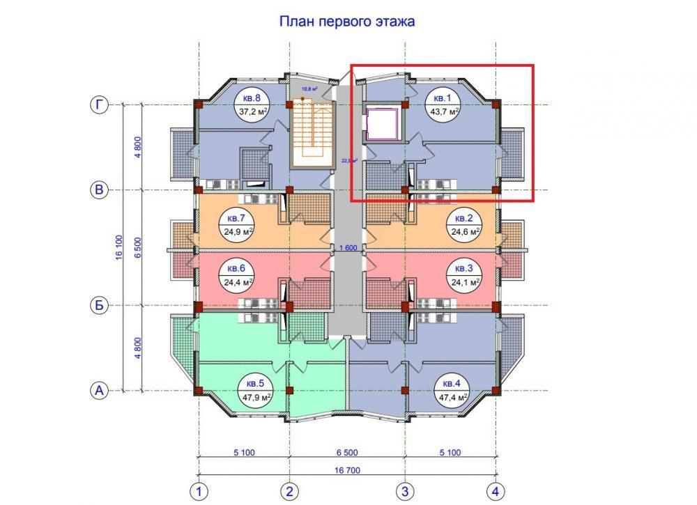 ЖК Прохладная долина Сочи - План 1-го этажа