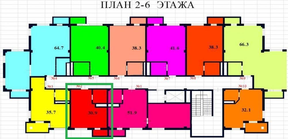 ЖК River House Сочи План 3-го этажа