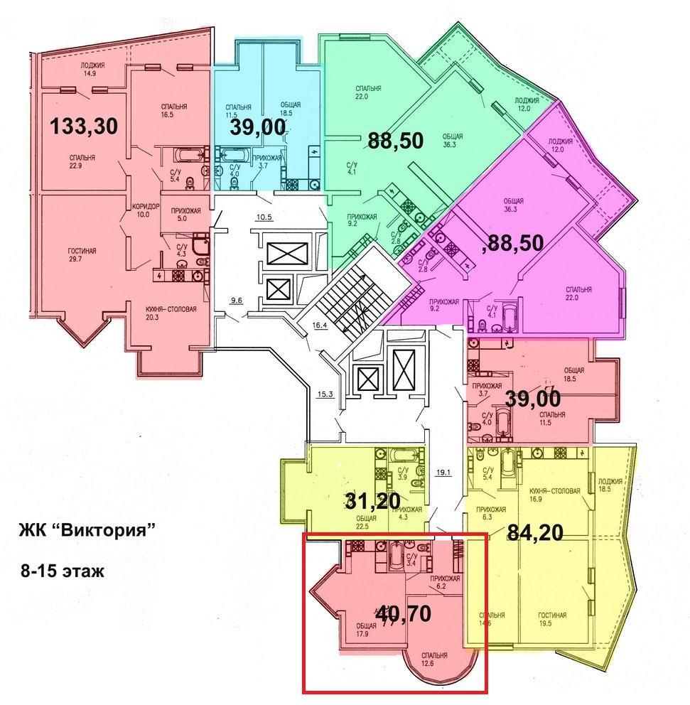 ЖК Виктория Сочи План 15-го этажа