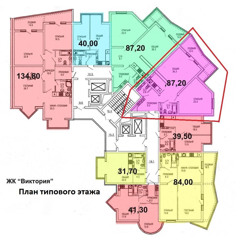 ЖК Виктория Сочи План 10-го этажа