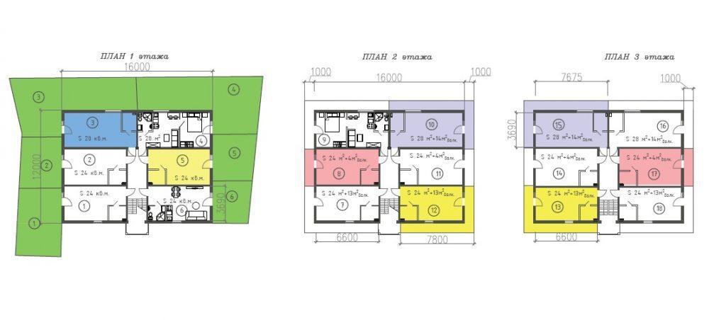 ЖК Византия Адлер - План 1, 2 и 3-го этажей
