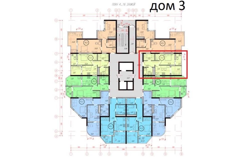 ЖК Южное море Сочи - План 5-го этажа