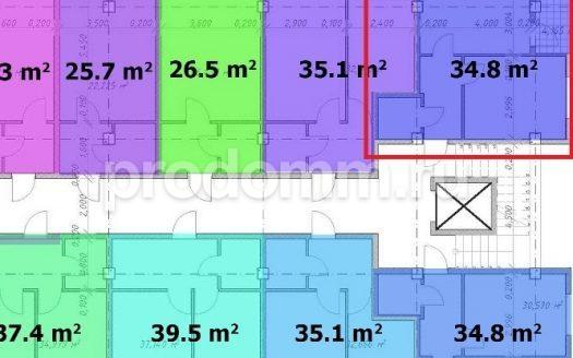 ЖК Барселона 4 Сочи План квартиры 34,8 кв м