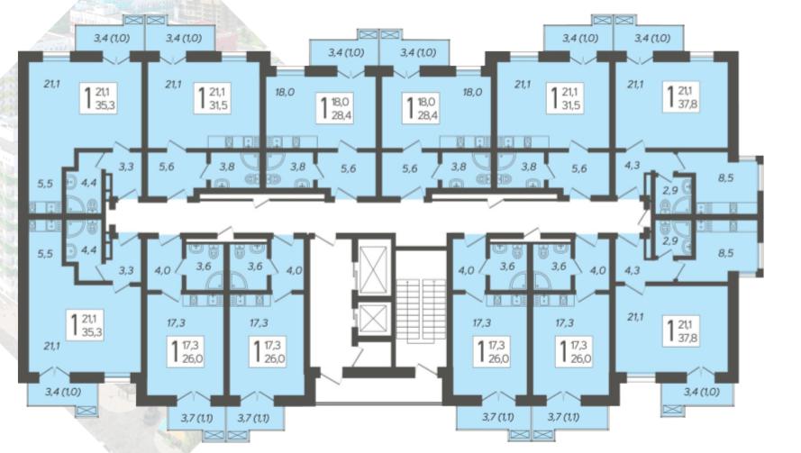 ЖК Летний Сочи - План 12-го этажа