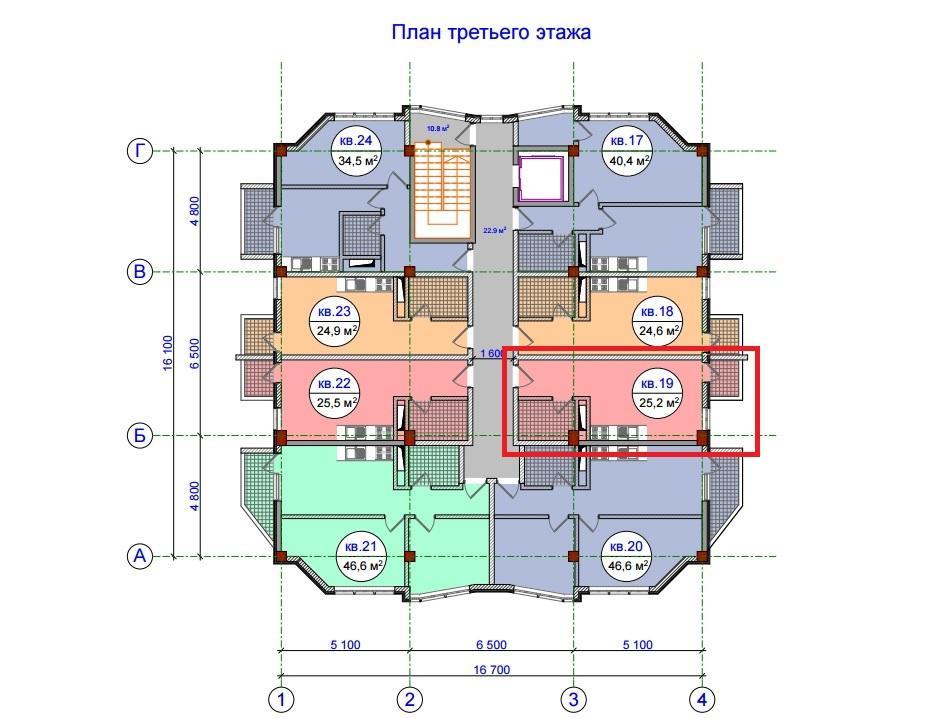ЖК Прохладная долина Сочи План 3-го этажа