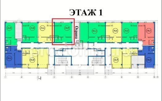 ЖК Сен-Тропе Сочи Планировка апартаментов 34,9 кв. метра