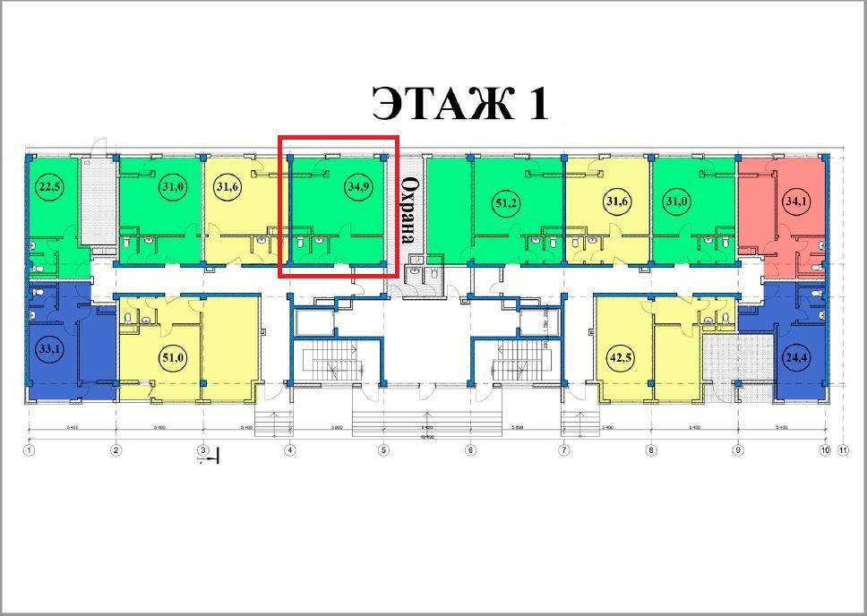 ЖК Сен-Тропе Сочи План 1-го этажа