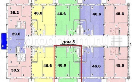 ЖК Весенний Сочи план квартиры 46,6 кв м