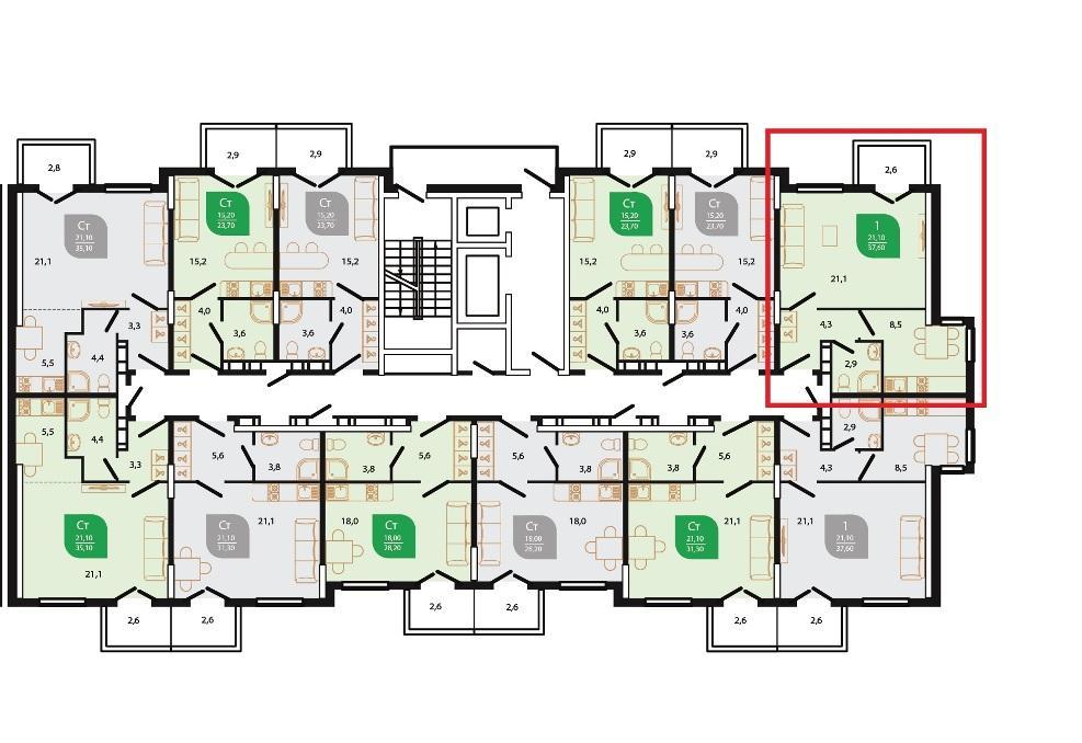 ЖК Флора Сочи - План 2-го этажа Литер 6 Подъезд 1