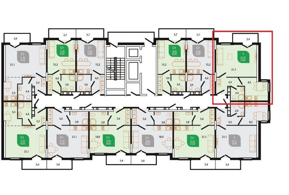 ЖК Флора Кудепста - План 6-го этажа Литер 6
