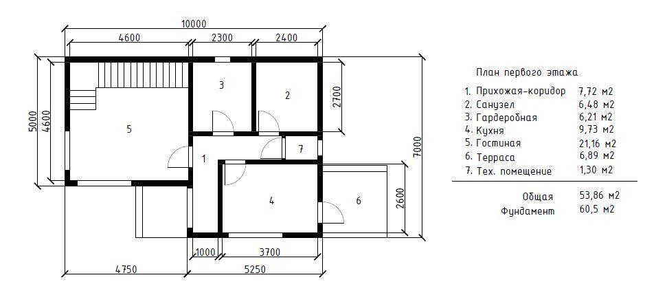 КП На Терновой Адлер - План 1-го этажа