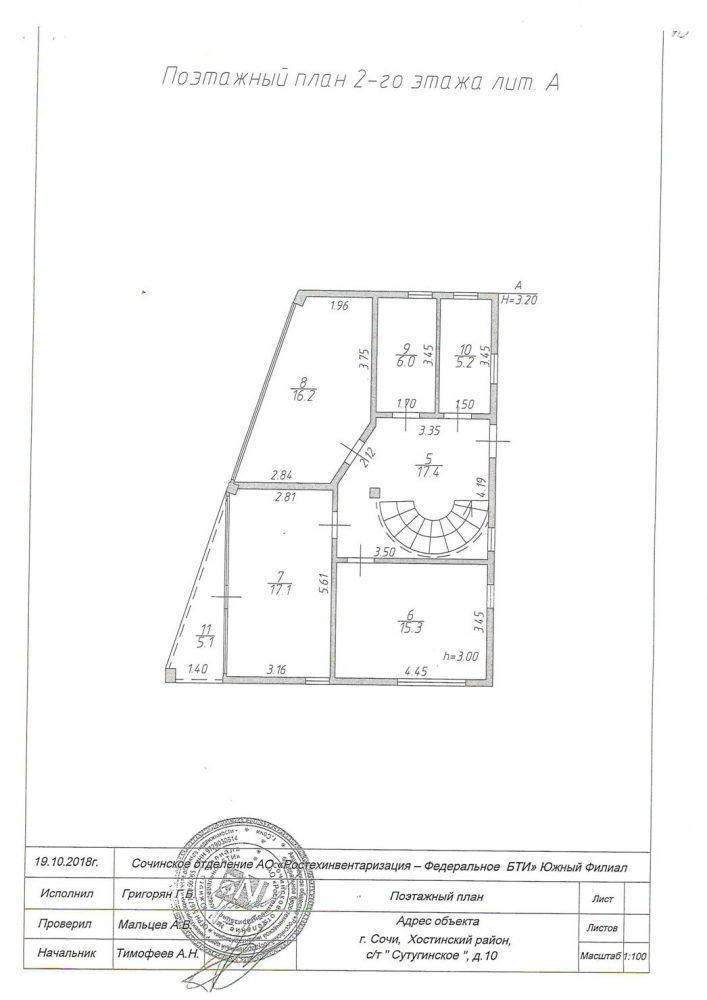 КП Хостинская Ривьера - План 2-го этажа дом 260 кв.м.