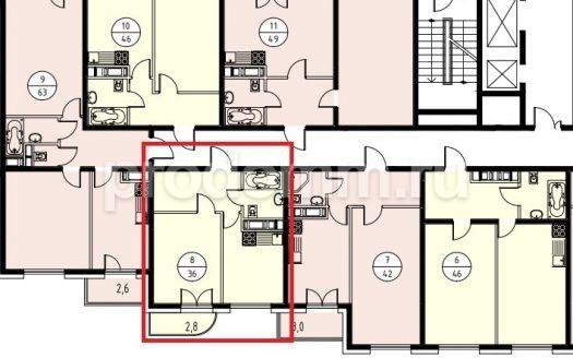 ЖК Альпийский квартал Сочи План квартиры 36 м