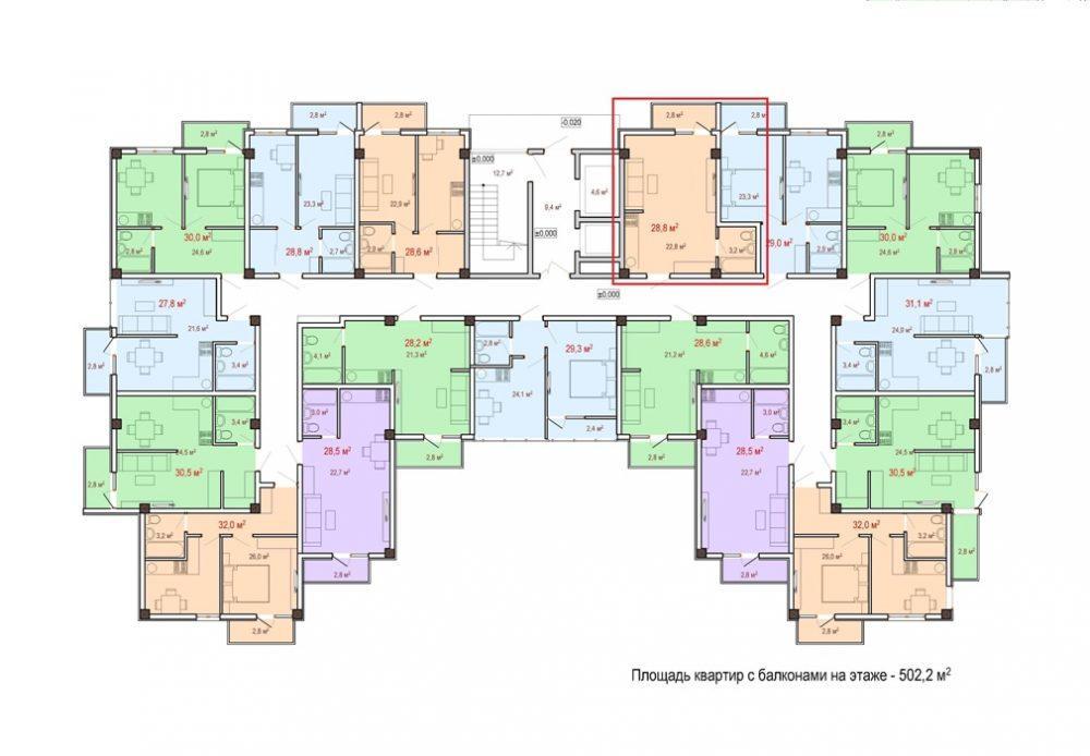 ЖК Чайный берег Дагомыс - План 3-го этажа Корпус 1
