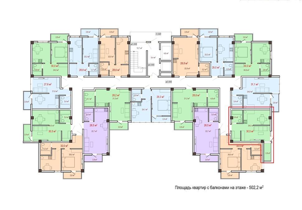 ЖК Чайный берег Сочи - План 2-го этажа Корпус 1
