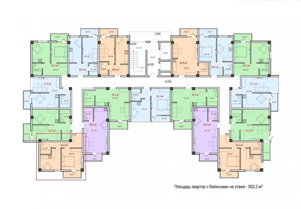 ЖК Чайный берег Сочи Дагомыс - План 3-го этажа Корпус 1