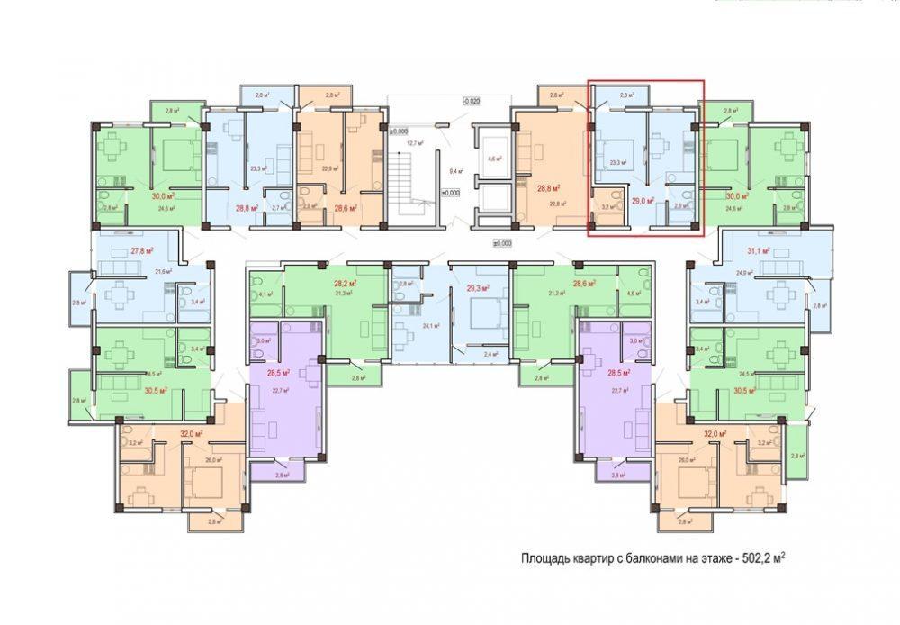 ЖК Чайный берег - План 3-го этажа Корпус 1