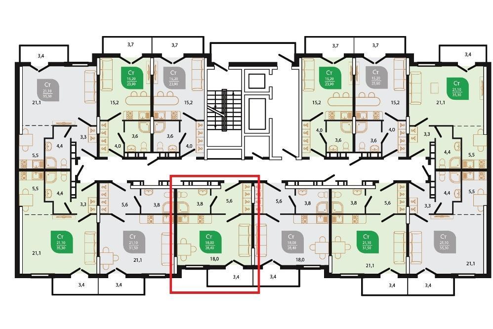 ЖК Флора Сочи - План 6-го этажа 1-го подъезда Литера 6