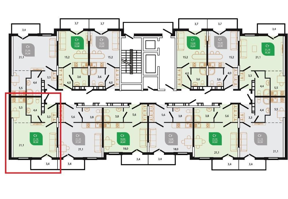 ЖК Флора Кудепста - План 12-го этажа