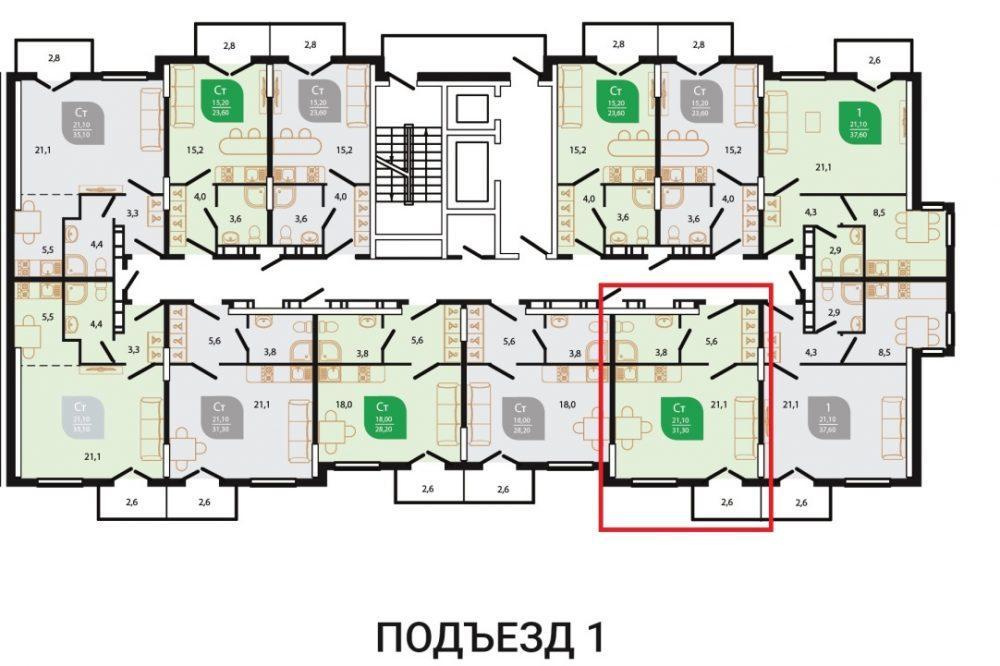 ЖК Флора Сочи План 3-го этажа Литер 6 Подъезд 1