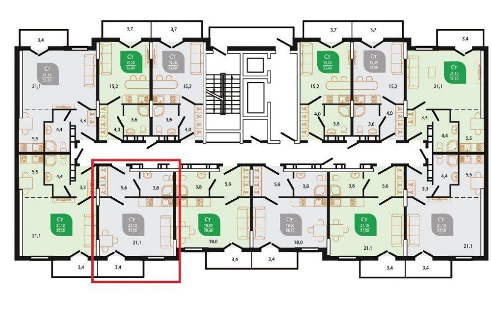 ЖК Флора Кудепста Сочи - План 7-го этажа Литер 6