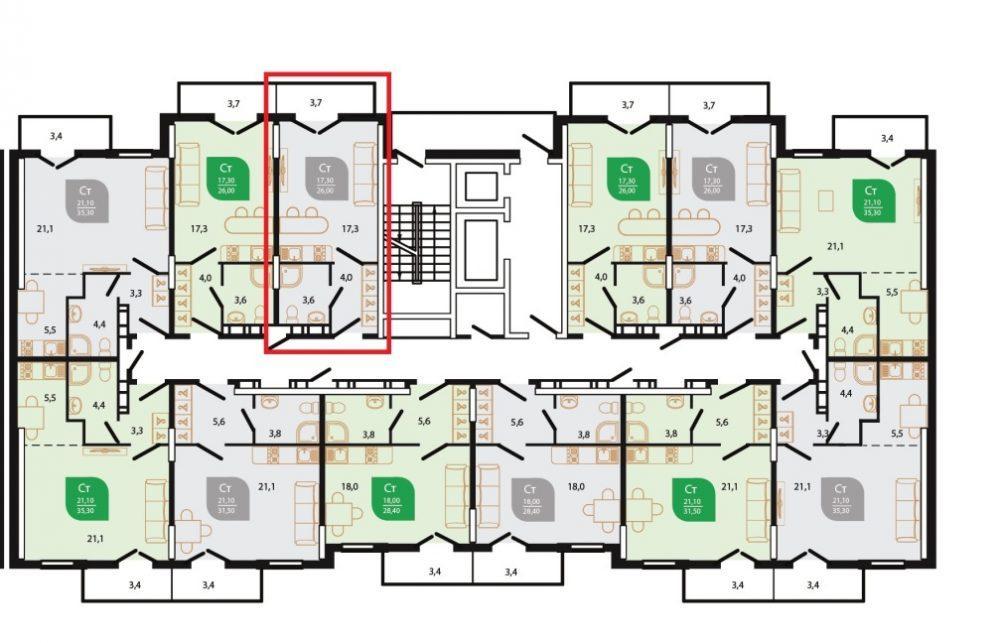 ЖК Флора Кудепста Сочи - План 12-го этажа