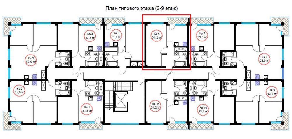 ЖК Гармония-4 Сочи - План 5-го этажа