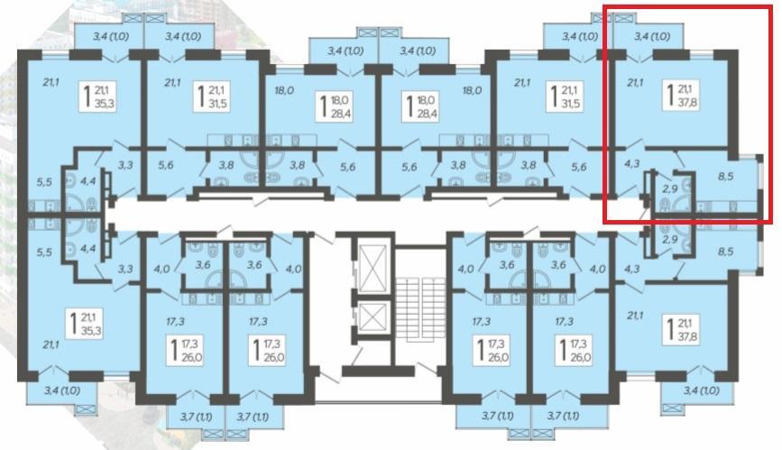 ЖК Летний Сочи Кудепста - План этажа и квартиры 37,8 кв.м.