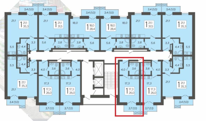 ЖК Летний Сочи - План 10-го этажа