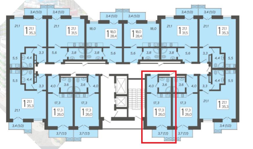 ЖК Летний Сочи - план 4-го этажа