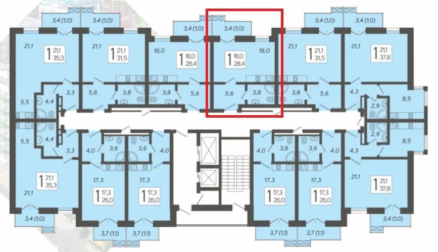 ЖК Летний Сочи - План 9-го этажа