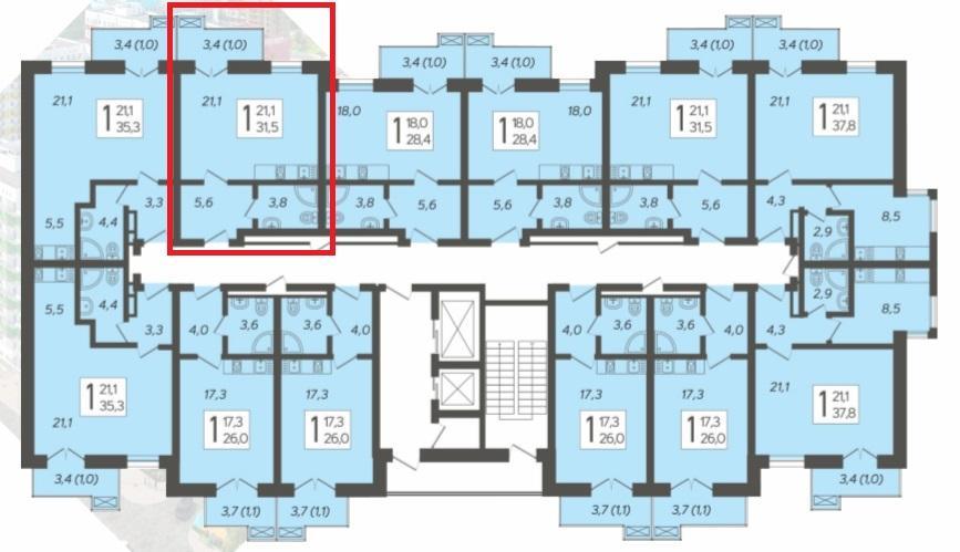 ЖК Летний Сочи - План 5-го этажа