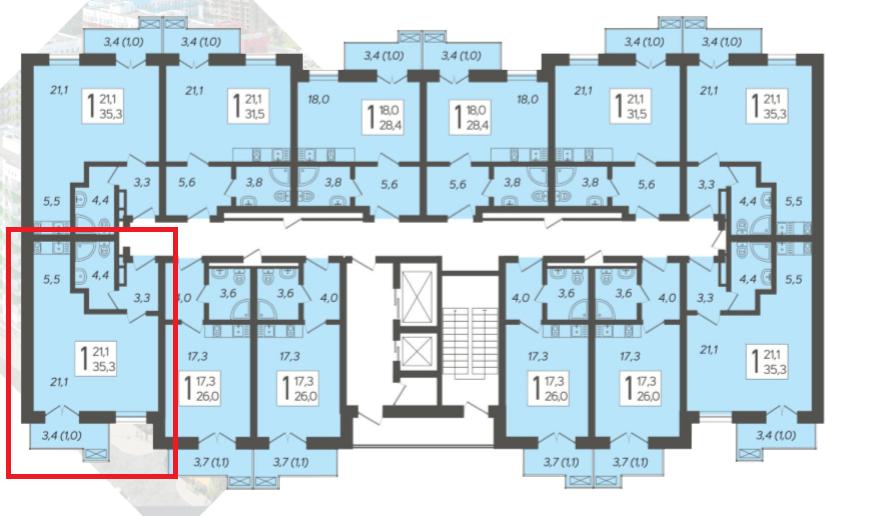 ЖК Летний Сочи - План 11-го этажа