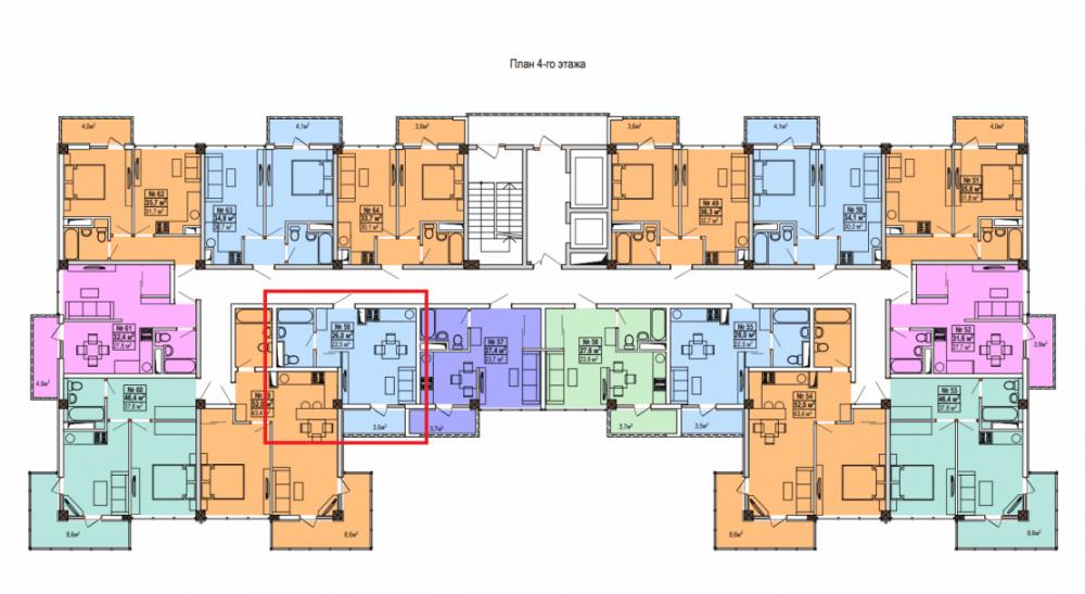 ЖК Мадрид 5 План 4-го этажа