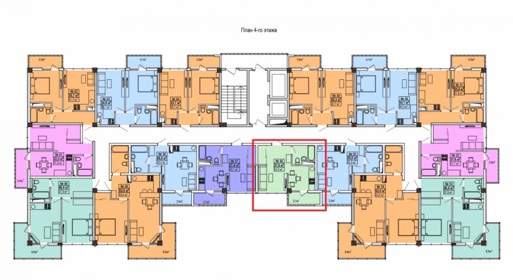 ЖК «Мадрид 5» Сочи - План 4-го этажа