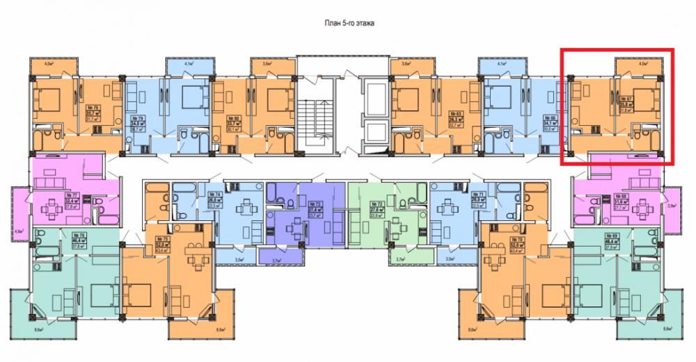 ЖК Мадрид 5 Сочи - План 5-го этажа