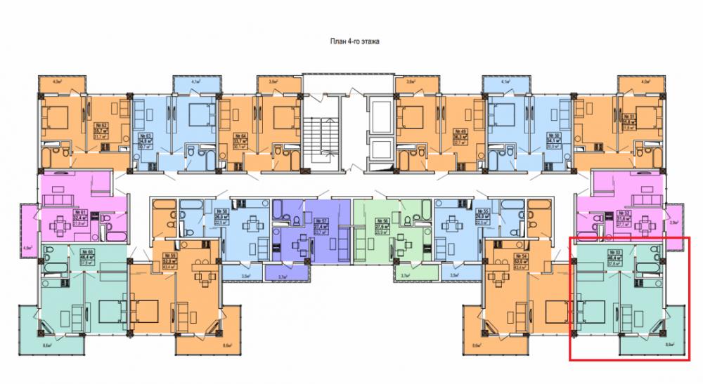 ЖК Мадрид 5 Сочи - План 4-го этажа